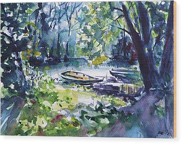 Wood Print featuring the painting Boat by Kovacs Anna Brigitta