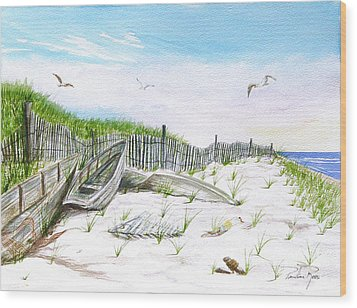Boats In The Sand Wood Print by Pauline Ross