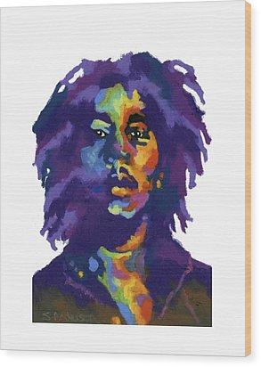 Wood Print featuring the painting Bob Marley-for T-shirt by Stephen Anderson