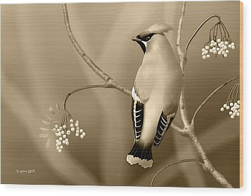 Wood Print featuring the digital art Bohemian Waxwing In Sepia by John Wills