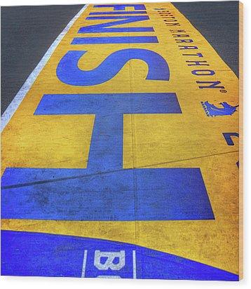 Wood Print featuring the photograph Boston Marathon Finish Line by Joann Vitali