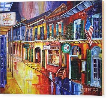 Bourbon Street Red Wood Print by Diane Millsap