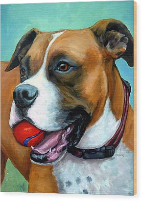 Boxer With Red Ball Wood Print by Dottie Dracos
