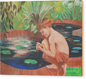 Boy Fishing Wood Print by Fred Jinkins