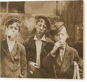 Boys Smoking, Original Caption A.m Wood Print by Everett