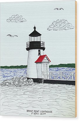 Brant Point Lighthouse Wood Print by Frederic Kohli