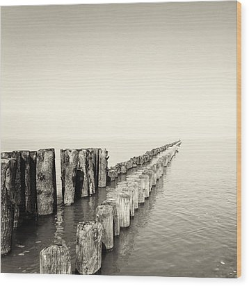 Breakwaters Wood Print by Wim Lanclus