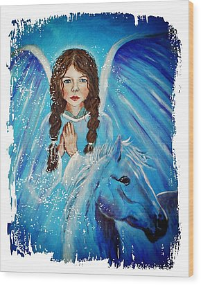 Brianna Little Angel Of Strength And Courage Wood Print by The Art With A Heart By Charlotte Phillips