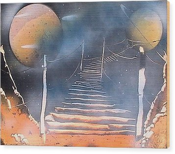 Bridge To Space Wood Print by My Imagination Gallery