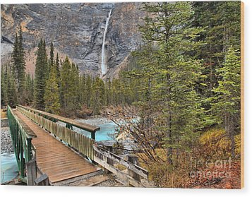 Wood Print featuring the photograph Wooden Bridge To Takakkaw Falls by Adam Jewell