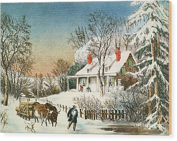 Bringing Home The Logs Wood Print by Currier and Ives