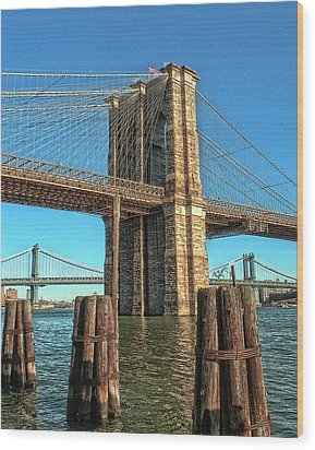 Brooklyn Bridge Wood Print by Francis Dangelo