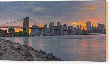 Brooklyn Sunset Wood Print by David Hahn