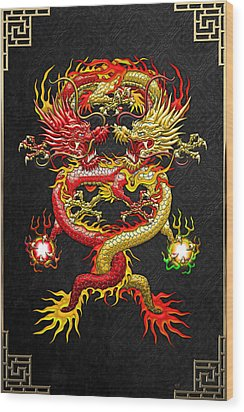 Brotherhood Of The Snake - The Red And The Yellow Dragons Wood Print by Serge Averbukh