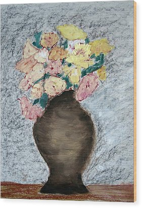 Brown Urn Wood Print by Patricia Cleasby