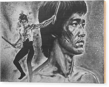 Wood Print featuring the painting Bruce Lee by Darryl Matthews