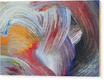 Brush Strokes Wood Print by Michal Boubin