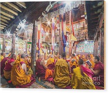 Buddhist Monks Praying In Thiksay Monastery Wood Print