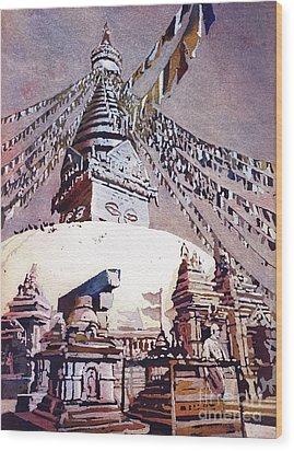 Wood Print featuring the painting Buddhist Stupa- Nepal by Ryan Fox
