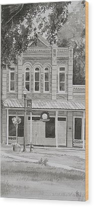 Building On The Square Wood Print by Karen Boudreaux