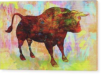 Bull Wood Print by Elena Kosvincheva