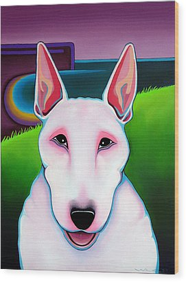 Wood Print featuring the painting Bull Terrier by Leanne WILKES