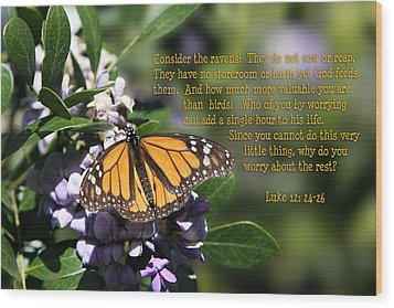 Butterfly With Scripture Wood Print by Linda Phelps