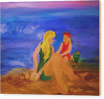 Wood Print featuring the painting By The Sea by Evelina Popilian