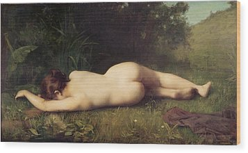 Byblis Turning Into A Spring Wood Print by Jean-Jacques Henner