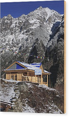 Wood Print featuring the photograph Meeting Point Mountain Restaurant by Aidan Moran