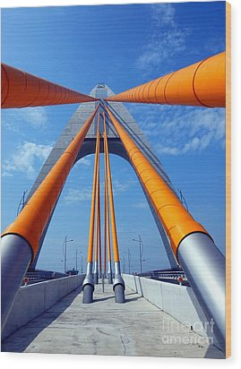 Wood Print featuring the photograph Cable Stayed Bridge With Orange Clad Cables by Yali Shi