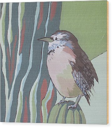 Cactus Wren Wood Print by Sandy Tracey