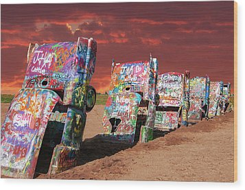Cadillac Ranch Wood Print by Carolyn Dalessandro