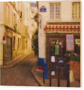 Cafe On The Rue Des Ursins Wood Print by Mick Burkey