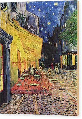 Cafe Terrace Place Du Forum At Night Wood Print by Vincent Van Gogh
