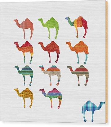 Camels Wood Print by Art Spectrum