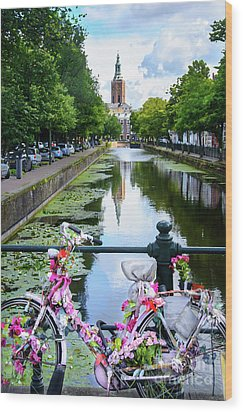 Wood Print featuring the digital art Canal And Decorated Bike In The Hague by RicardMN Photography