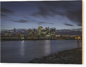 Wood Print featuring the photograph Canary Wharf by Ryan Photography
