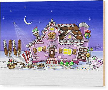 Candy House Wood Print by Andy Bauer