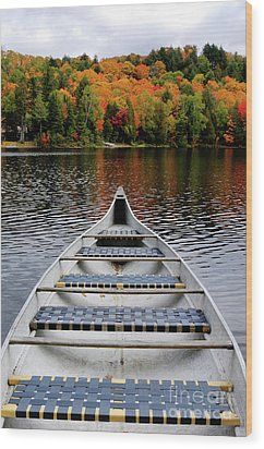 Canoe On A Lake Wood Print by Oleksiy Maksymenko