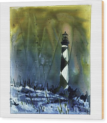 Wood Print featuring the mixed media Cape Lookout Lighthouse by Ryan Fox