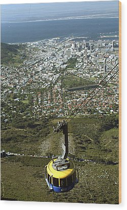 Capetown Cablecar Wood Print by Charles  Ridgway