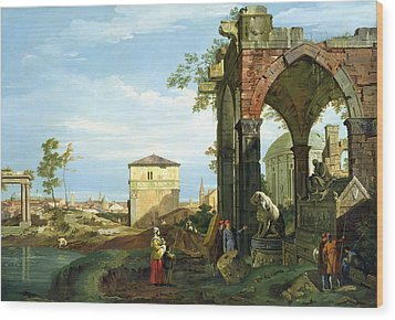Capriccio With Motifs From Padua Wood Print by Canaletto