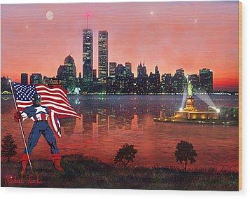Captain America Wood Print by Michael Rucker
