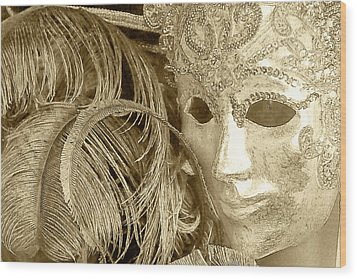 Carnival Mask Wood Print by John Hix