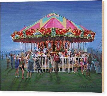 Carousel At Dusk Wood Print by Oz Freedgood
