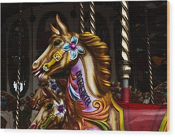 Wood Print featuring the photograph Carousel Horses by Steve Purnell