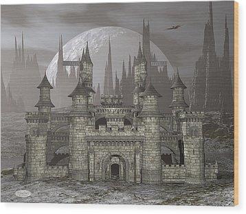 Castle By Night - 3d Render Wood Print by Elenarts - Elena Duvernay Digital Art