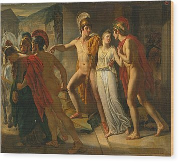 Wood Print featuring the painting Castor And Pollux Rescuing Helen by Jean-Bruno Gassies