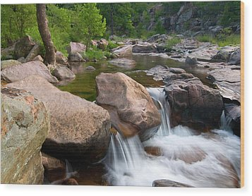 Castor River Shut-ins Wood Print by Steve Stuller
